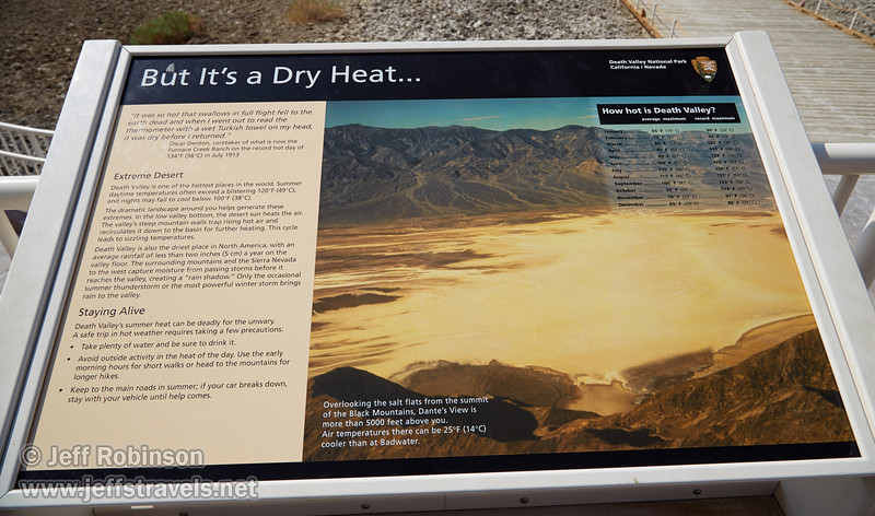 """But It's a Dry Heat"" sign. (3/22/2013, Badwater Basin, Death Valley NP)<br /> EF24-105mm f/4L IS USM @ 24mm f/10 1/200s ISO100"