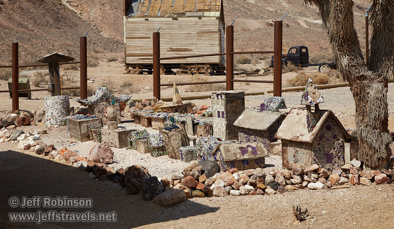 The yard outside of Tom Kelly's Bottle House (built out of about 30,000 empty beer bottles) contains a small town, also with pieces of glass. (3/22/2013, Rhyolite (ghost town), Death Valley trip)<br /> EF24-105mm f/4L IS USM @ 73mm f/9 1/320s ISO160