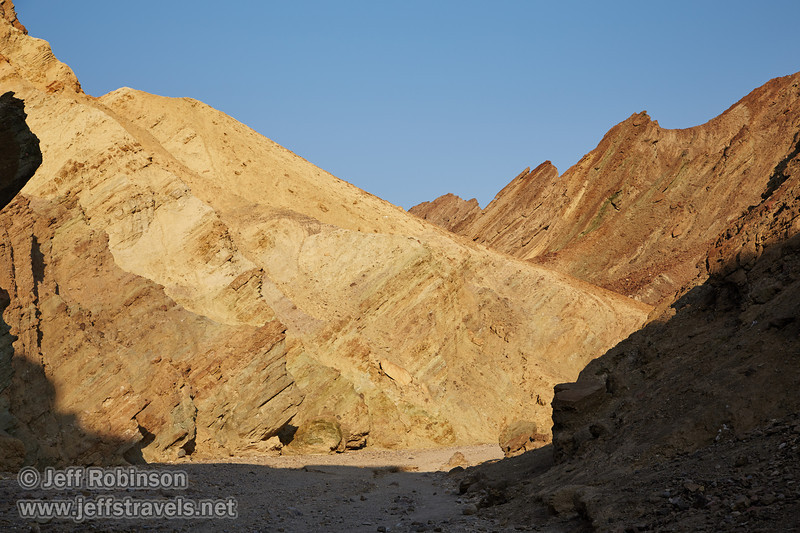 A view up Golden Canyon with its sunlit cliffs with their hues of red, yellow, and green. (3/22/2013, Golden Canyon, Death Valley NP)<br /> EF24-105mm f/4L IS USM @ 65mm f/9 1/200s ISO125