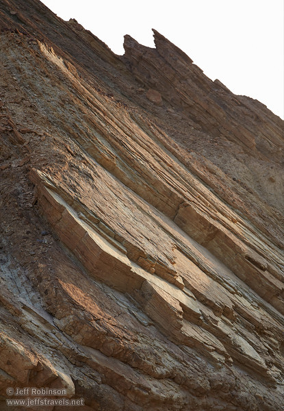 Side view of the rock layers in the canyon wall angled up at around a 45 degree angle. (3/22/2013, Golden Canyon, Death Valley NP)<br /> EF24-105mm f/4L IS USM @ 80mm f/7 1/160s ISO400
