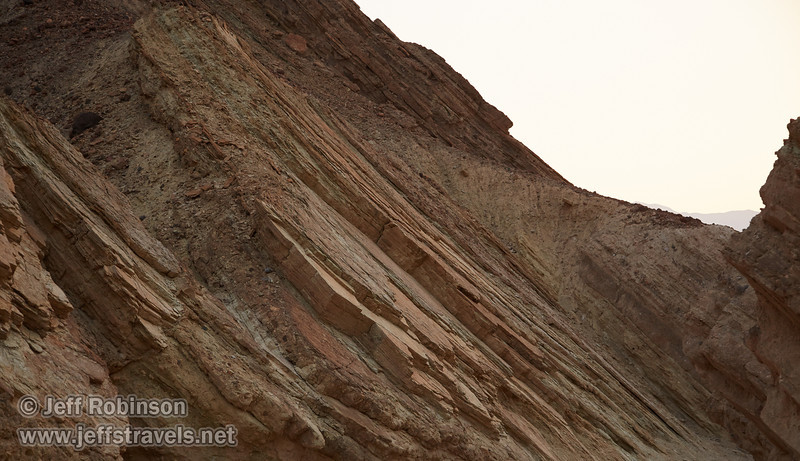 Rock layers at about a 45 degree angle on the canyon wall after the sun had gone behind the mountains. (3/22/2013, Golden Canyon, Death Valley NP)<br /> EF24-105mm f/4L IS USM @ 65mm f/5 1/160s ISO400