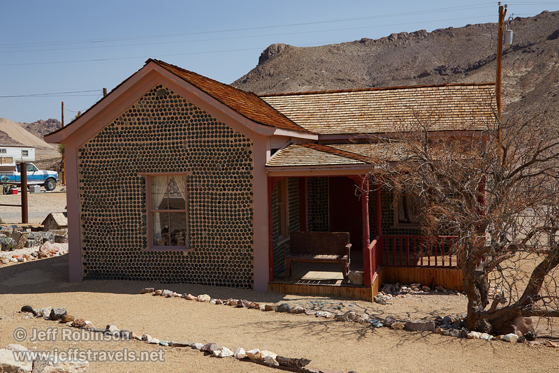 Tom Kelly's Bottle House, built out of about 30,000 empty beer bottles. (3/22/2013, Rhyolite (ghost town), Death Valley trip)<br /> EF24-105mm f/4L IS USM @ 40mm f/9 1/320s ISO200