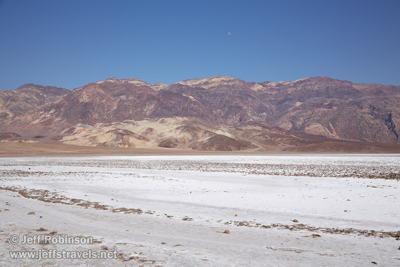 White salt pan in the foreground leads to the colorful mountains of the Amargosa Range under blue sky and the moon in the background. (3/22/2013, Devils Golf Course, Death Valley NP)<br /> EF24-105mm f/4L IS USM @ 32mm f/10 1/200s ISO100
