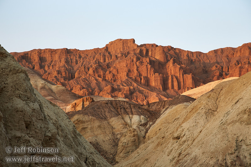 The last bits of sunlight on the red cliff in the distance, with foreground mounds of whites and yellows. (3/22/2013, Golden Canyon, Death Valley NP)<br /> EF24-105mm f/4L IS USM @ 105mm f/7 1/160s ISO400