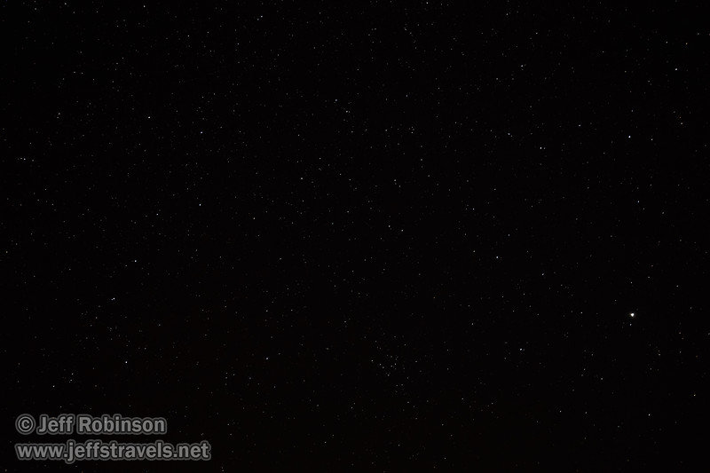 Stars (including the Big Dipper on the left and Jupiter as the bright star on the right) photographed from the end of the pavement on Death Valley Rd., looking generally NE (3/10/2016, Eureka Dunes drive, Death Valley trip)<br /> EF16-35mm f/4L IS USM @ 24mm f4 20s ISO1600