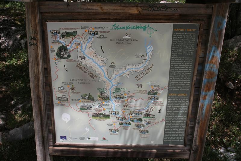 map of the Vikos Gorge, near Monastery at Monondendri