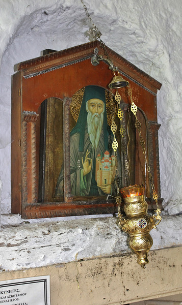 Ancient icon, Greek Orthodox Church beneath Agios Dionysios Monastery