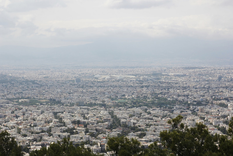view at Athens with the Olympic stadion, Mount Parnitha 1413m, N of Athens