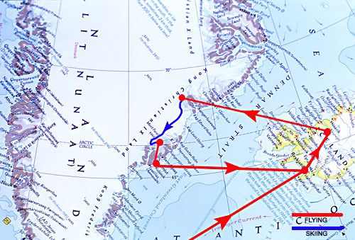 Map of Route <br /> These photos follow a ski traverse in Eastern Greenland that I completed in June of 2002. <br /> <br /> Greenland is about five times the size of Japan but only 55,000 people live <br /> on the island. Out of this tiny population, only 3,000 live on the entire remote<br /> eastern coast. To reach Greenland's Icecap we took a ski plane from<br /> Akureyri, Iceland. From our drop off point we skied 185 miles south in 20 days. <br /> At our last camp we were picked up by helicopter and flew to Ammassalik, <br /> Greenland then by plane back to Iceland.