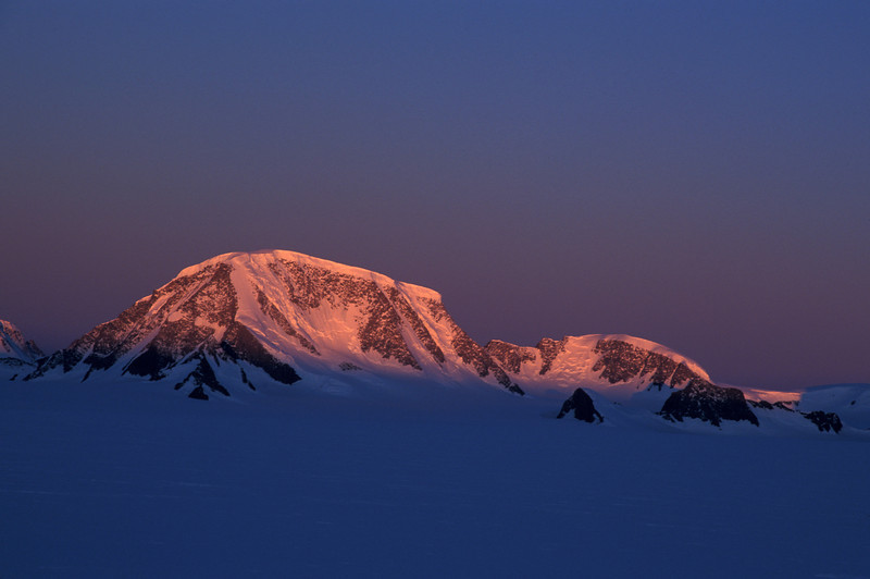 Sunset on Mt. Forel <br /> <br /> Despite being one of the prominent mountains in Greenland, <br /> Mt. Forel has only seen a handful of ascents.