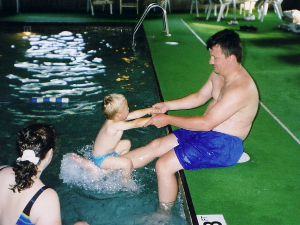 Playing poolside post Highland Games_2002