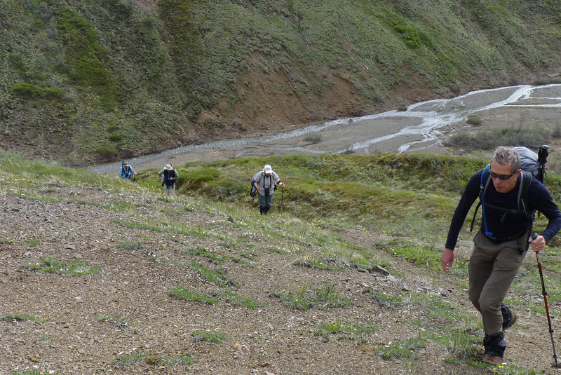 After our pleasant, and flat walk along the braided stream, we begin to climb in earnest.