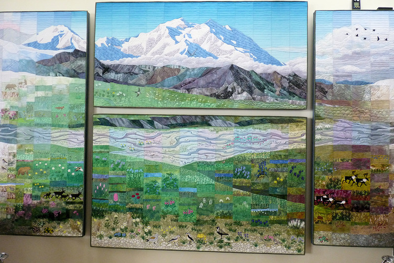 """We make a pit stop at the Eielson Visitor Center, and admire this wonderful art quilt, """"Seasons of Denali"""" by Ree Nancarrow."""