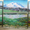 "We make a pit stop at the Eielson Visitor Center, and admire this wonderful art quilt, ""Seasons of Denali"" by Ree Nancarrow."