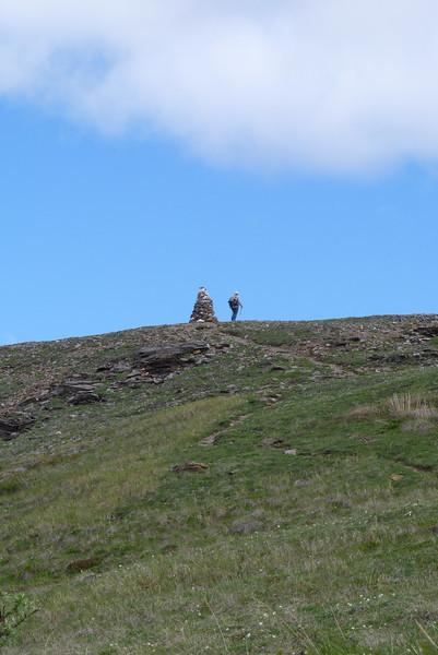 Jeane, impatient with the (over)zealous botanists in our group, makes a beeline for the first cairn atop Camp Ridge.
