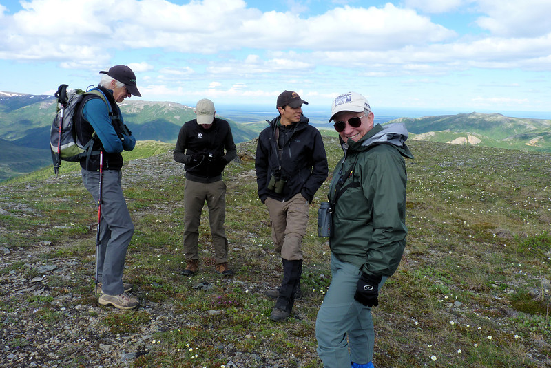 We wait on Camp Ridge for the botanists to catch up.  Our guide Duke is next to Jeane, and our other hiking companions, Terry and Dylan, are triathletes who made us feel like slackers.