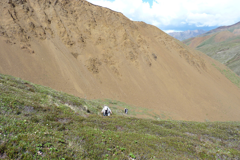 It's a seriously steep climb up scree and spongy tundra...with only a little complaining from the hikers, who thought we were done with elevation gain.
