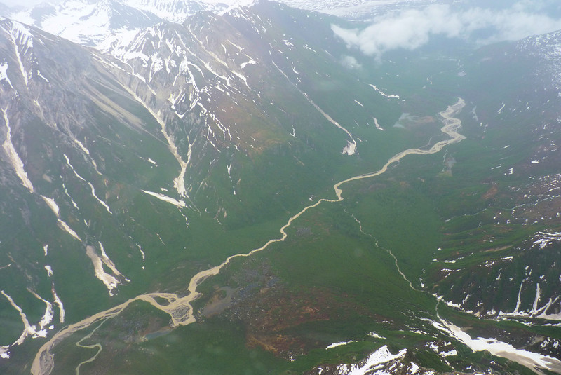 The Coffee River flows down from a glacier; the broad valley once contained an enormous glacier.