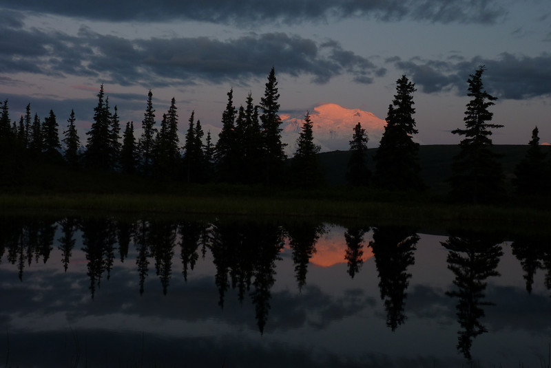 Denali, alpenglow, Nugget Pond...