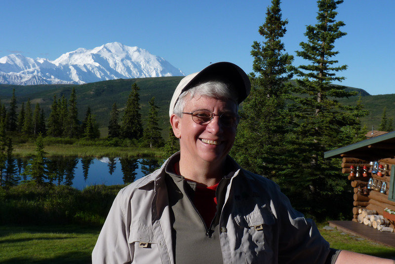 Jeane, hangin' out before breakfast at Camp Denali