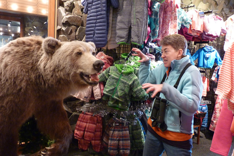 We wander into a gift shop in search of an allleged ATM machine, and Patti tries to out-fierce the store bear.