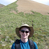 Patti is happy to be hiking, in spite of the grueling elevation gain.