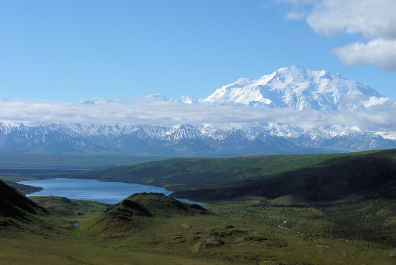 """Denali is the highest mountain in North America (20,320 feet), but in a game of """"my mountain's bigger than your mountain"""", the staff at Camp Denali point out that when measured from base to peak, Denali is the highest mountain on land."""