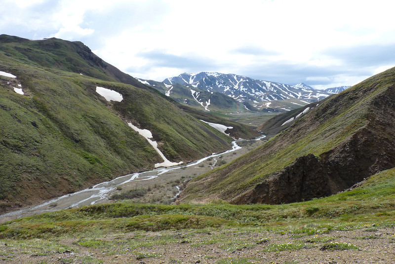 While this certainly looks like glacial runoff, this is a V-shaped valley and not a U-shaped valley, which we think means it wasn't carved by a glacier.