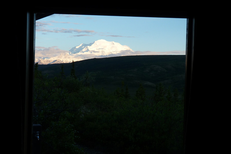 This is the view from Patti's side of the cabin at Camp Denali, and the main reason Patti might not be sleeping as much as she should.  The snow on the mountain reflects the ample sunlight all night long.