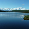 On our drive toward our hiking destination, we stop at Wonder Lake for photos.