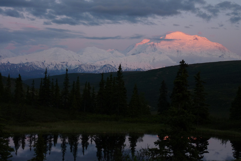 Patti takes one final photo of Denali before returning to our cabin.  She hopes Jeane has kept the fire burning.