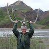 At the Toklat River rest stop, Jeane tries on one of the many pairs of antlers...probably caribou; the moose antlers are far too heavy for Jeane to lift over her head.  Besides, Jeane doesn't look good in moose.