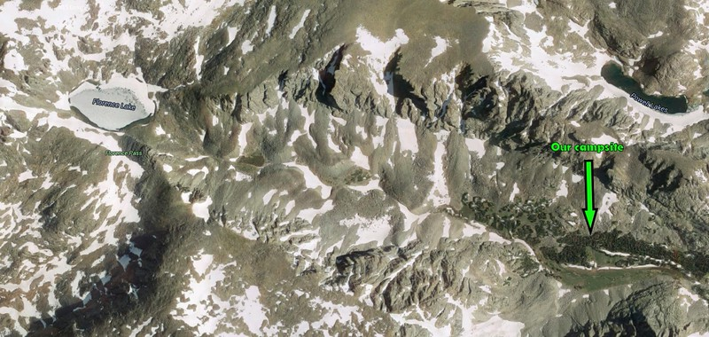 Here's a fun satellite image, courtesy of Google Maps, showing the hike we'll take from our campsite in Medicine Park, to Florence Lake (still covered in ice/snow in this image).