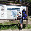 Jeane points out our hike for today, a short three miles which will not feel short at all, since our starting elevation is 9100 feet.