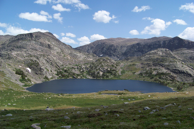 As we drop into the next valley and change drainages, we see lovely Mistymoon Lake.