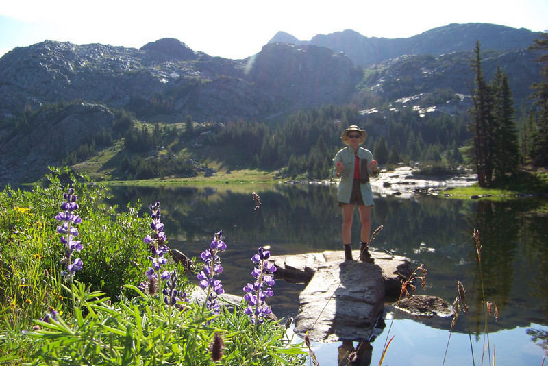 Wednesday, August 5th: Patti starts the morning by deciding that we need more water for breakfast and our daily travels. The Lupine shine in the morning sun.