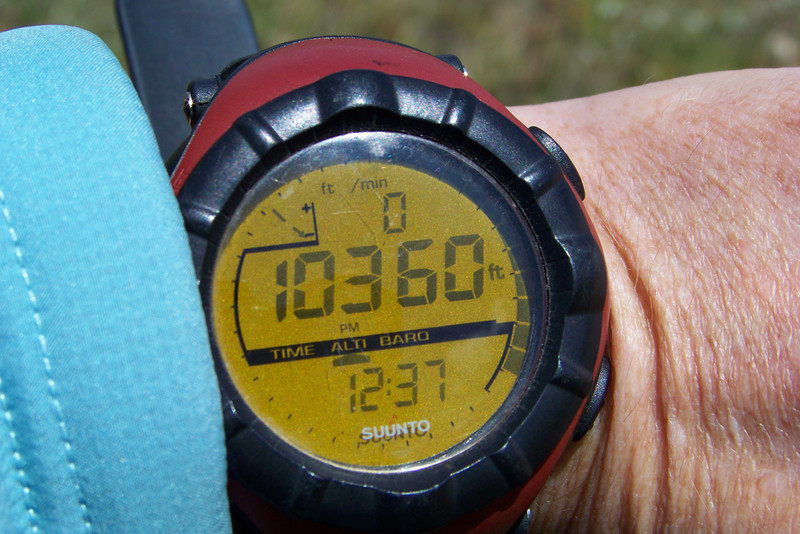 Our current altimeter reading is a bit low due to the high barometric pressure. According to our topo map we should be at roughly 10,520 feet.
