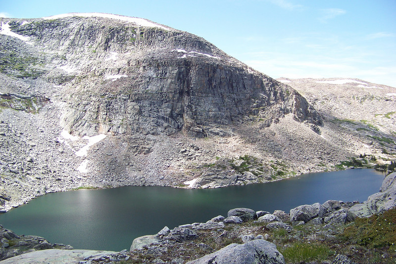 From our high vantage point we can see both lakes; this is the lower Lost Twin.