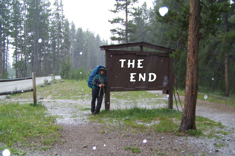 We arrive back at the trailhead and our awaiting rental car as we're really getting pelted with hail...happy to have had such a wonderful seven days in the wilderness, but looking forward to a hot shower and soft bed!