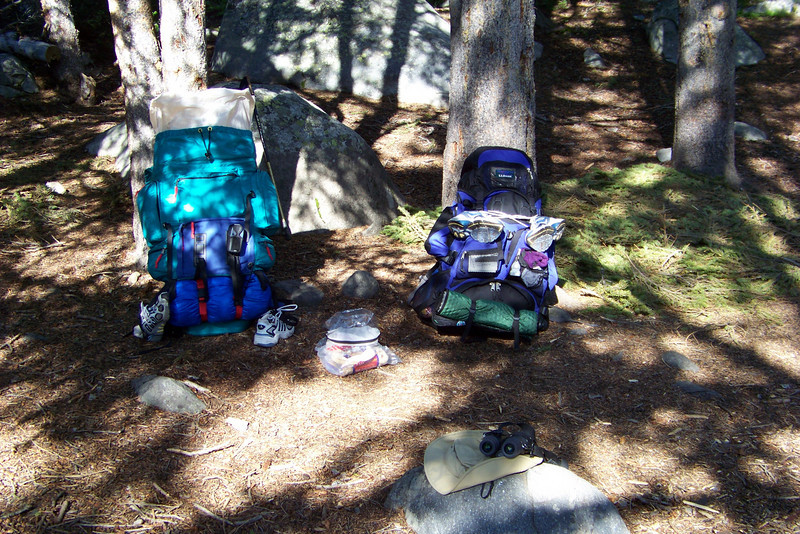 Tuesday, August 4th: we're packed up and ready to leave Mirror Lake for some serious backpacking.