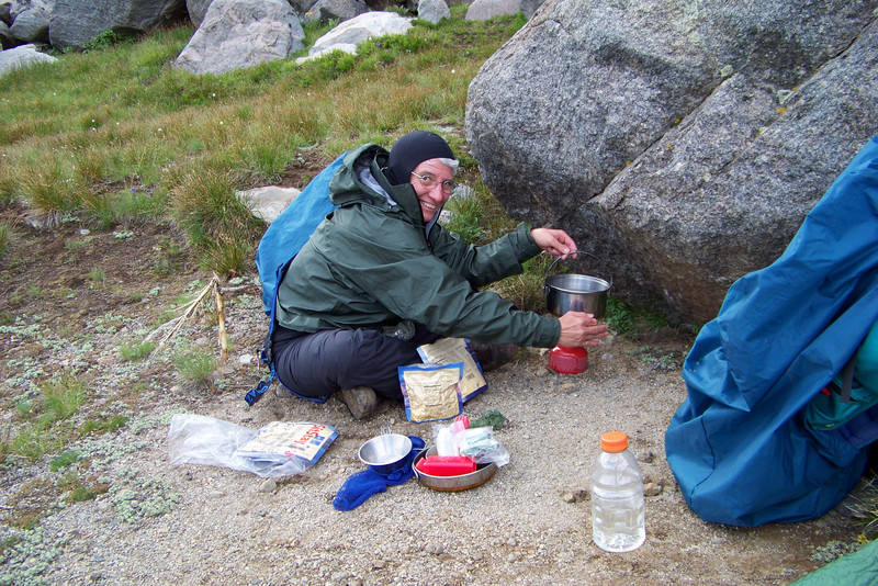 Jeane (or it is Brave Sir Robin) prepares our delicious soon-to-be-rehydrated dinner.