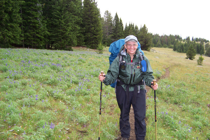 The rain obviously doesn't intend to stop, so we suit up in our wet-weather gear. We traverse a Lupine-covered hill.