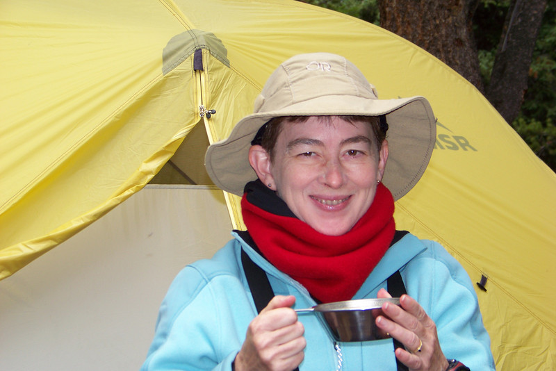Patti looks a bit delirious -- wilderness bliss or hypothermia?