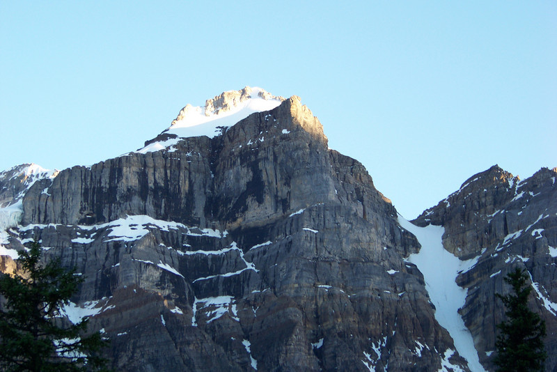We enjoy the last light on the tops of the mountains surrounding Moraine Lake Lodge.