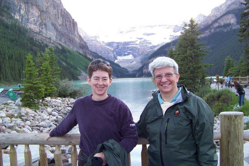 Patti and Jeane find a kind soul to take their picture in front of Lake Louise.