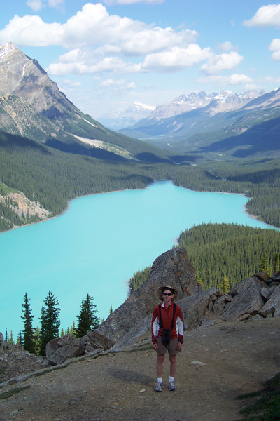 We find ourselves, in spite of our plan to rest our feet, tempted by a spur trail to a high overlook of Peyto Lake.