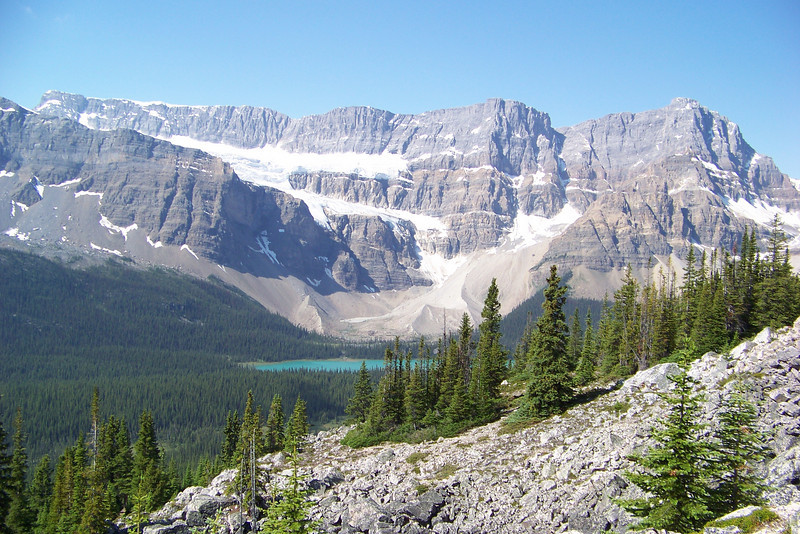 """Day 5: July 27th.  We engaged Great Divide Nature Interpretation to take us on another guided hike to Helen Lake.  After climbing through forest, we reach our first """"Wow"""" moment: a view of Bow Lake and the Crowfoot Glacier."""