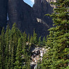 From the trail to the Little Beehive we can see this waterfall that drains Lake Agnes.