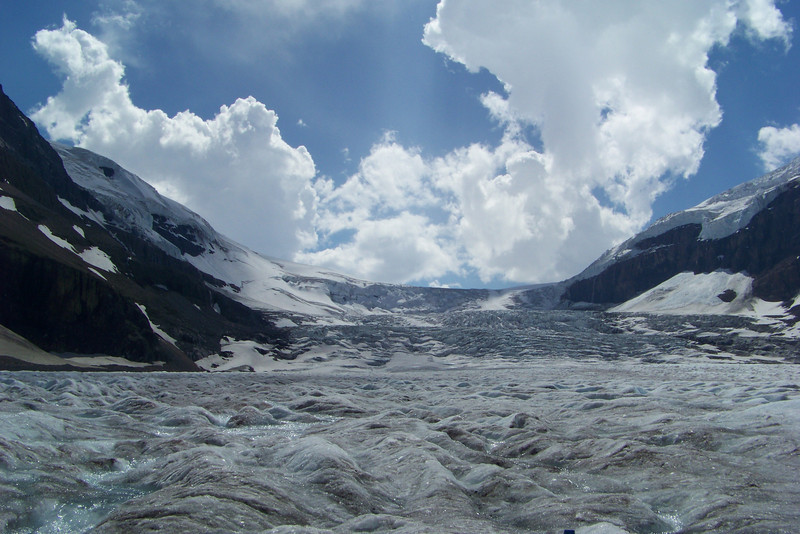 """Our tour bus driver characterized this portion of the Athabasca Glacier as an """"icefall"""", a phenomenon similar to a waterfall, but slower, yet more rapid than a typical glacial flow."""