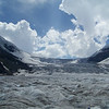 "Our tour bus driver characterized this portion of the Athabasca Glacier as an ""icefall"", a phenomenon similar to a waterfall, but slower, yet more rapid than a typical glacial flow."